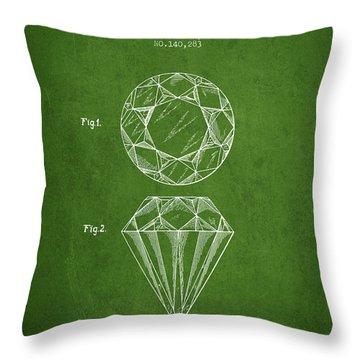 Cut Diamond Patent From 1873 - Green Throw Pillow