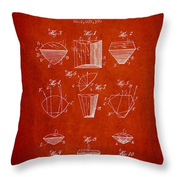 Cut Diamond Patent From 1935 - Red Throw Pillow