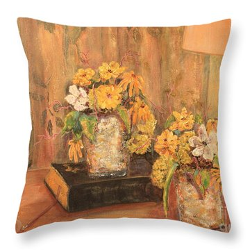 Cut Flowers By Eyeglasses Throw Pillow by Pat Craft