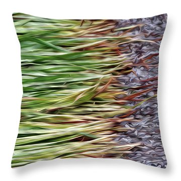 Cut Grass And Pebbles Throw Pillow