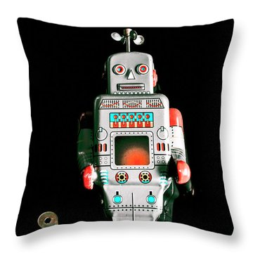 Cute 1970s Robot On Black Background Throw Pillow