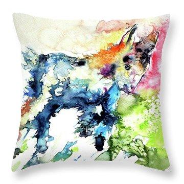 Cute Baby Goat Playing Throw Pillow by Kovacs Anna Brigitta
