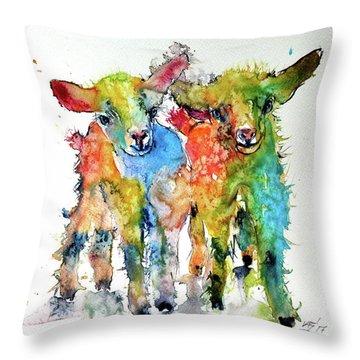 Cute Baby Goats Throw Pillow by Kovacs Anna Brigitta