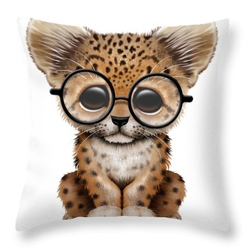 Cute Baby Leopard Cub Wearing Glasses Throw Pillow by Jeff Bartels