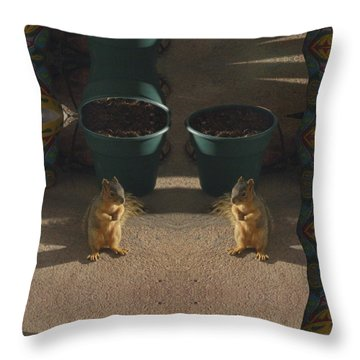 Cute Baby Squirrels On The Porch Throw Pillow