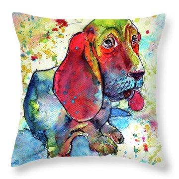 Cute Basset Hound Throw Pillow by Kovacs Anna Brigitta