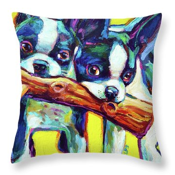 Throw Pillow featuring the painting Cute Boston Terriers by Robert Phelps