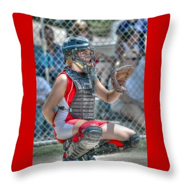 Cute Catcher In Red And White. Throw Pillow