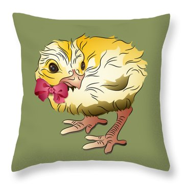 Throw Pillow featuring the digital art Cute Chick by MM Anderson