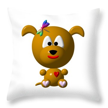 Cute Dog With Dragonfly Throw Pillow by Rose Santuci-Sofranko