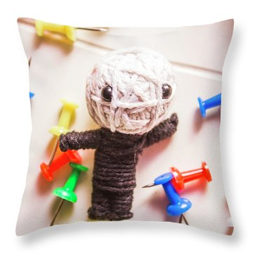Cute Doll Made From Yarn Surrounded By Pins Throw Pillow