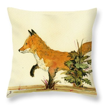 Cute Fox In The Forest Throw Pillow by Juan  Bosco