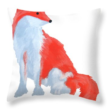 Cute Fox With Fluffy Tail Throw Pillow