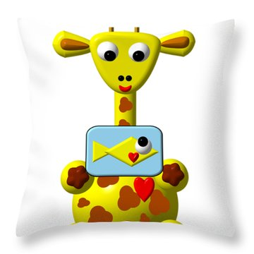 Cute Giraffe With Goldfish Throw Pillow