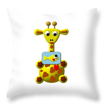 Throw Pillow featuring the digital art Cute Giraffe With Goldfish by Rose Santuci-Sofranko