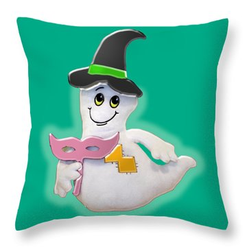 Cute Glowing Ghost Throw Pillow