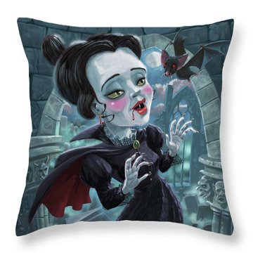 Cute Gothic Horror Vampire Woman Throw Pillow by Martin Davey