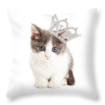 Cute Kitten Wearing Princess Crown Throw Pillow