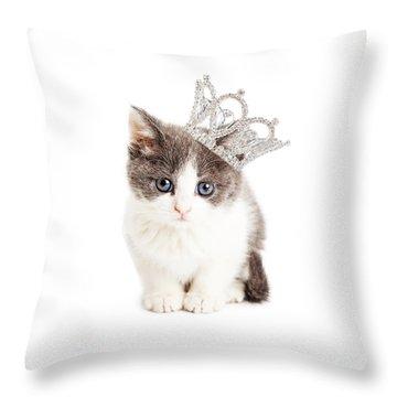 Cute Kitten Wearing Princess Crown Throw Pillow by Susan Schmitz
