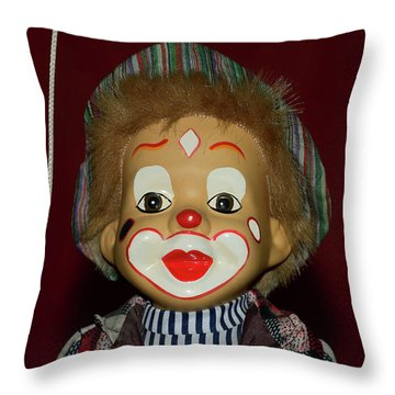 Throw Pillow featuring the photograph Cute Little Clown By Kaye Menner by Kaye Menner