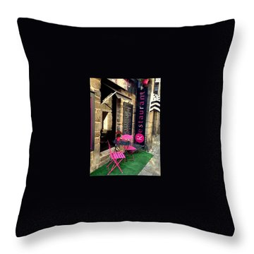 Cute Little Restaurant At France Throw Pillow