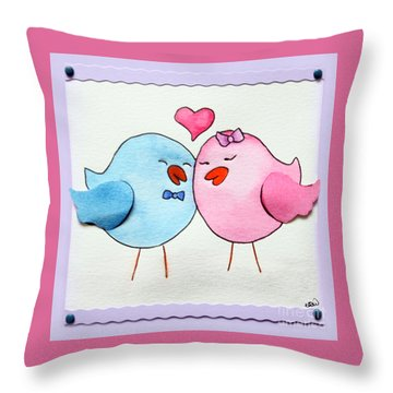 Cute Lovebirds Watercolour Throw Pillow by Terri Waters