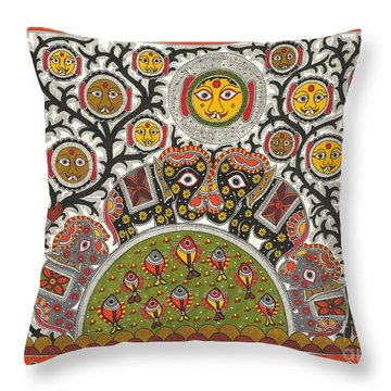 Cute Monsters In Jungle Throw Pillow