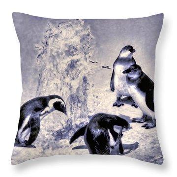 Cute Penguins Throw Pillow