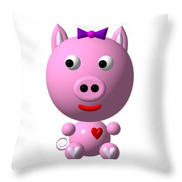 Cute Pink Pig With Purple Bow Throw Pillow