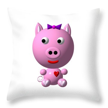 Throw Pillow featuring the digital art Cute Pink Pig With Purple Bow by Rose Santuci-Sofranko