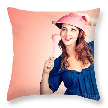 Throw Pillow featuring the photograph Cute Pinup Cook Thinking Up Colander Cooking Idea by Jorgo Photography - Wall Art Gallery