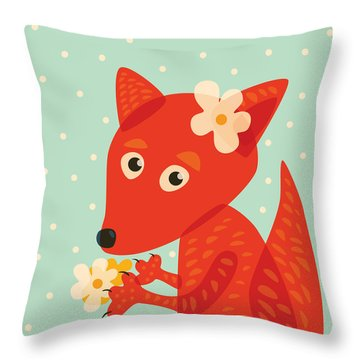 Cute Pretty Fox With Flowers Throw Pillow