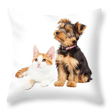 Cute Puppy And Kitten Sitting To Side  Throw Pillow