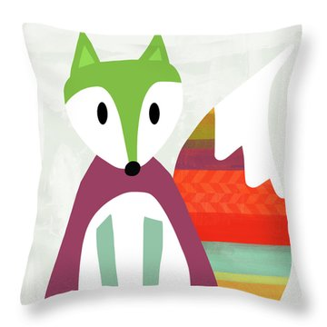 Cute Purple And Green Fox- Art By Linda Woods Throw Pillow