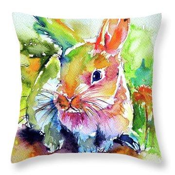Cute Rabbit Throw Pillow by Kovacs Anna Brigitta