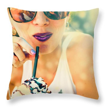 Cute Retro Girl Drinking Milkshake Throw Pillow