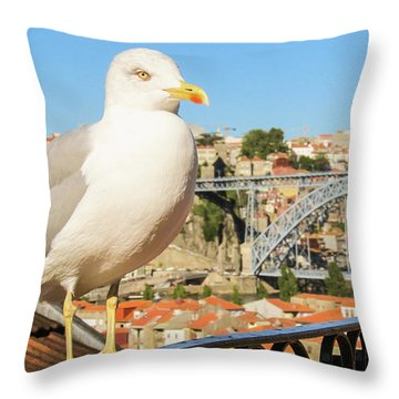 Cute Seagull And Porto's Cityscape Throw Pillow