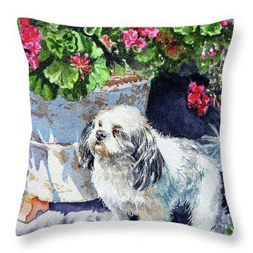 Cute Shih Tzu Dog Under Geranium  Throw Pillow