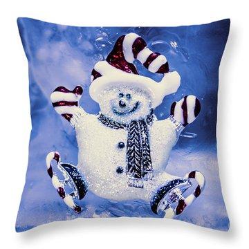 Cute Snowman In Ice Skates Throw Pillow