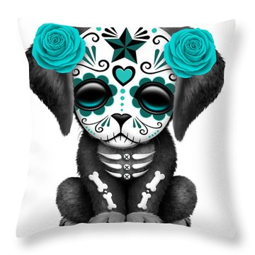 Cute Teal Blue Day Of The Dead Sugar Skull Dog  Throw Pillow by Jeff Bartels