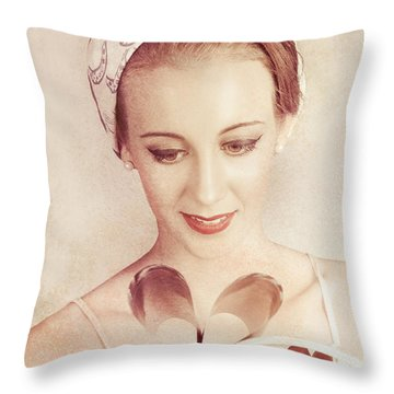 Cute Vogue Pinup Girl Reading Old Fashion Magazine Throw Pillow