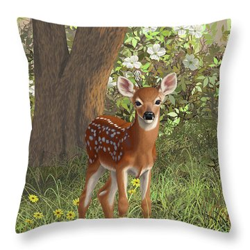 Cute Whitetail Fawn Throw Pillow