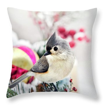 Cute Winter Bird - Tufted Titmouse Throw Pillow by Christina Rollo