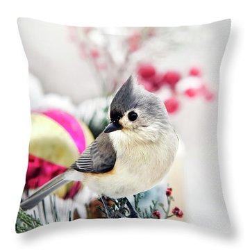 Cute Winter Bird - Tufted Titmouse Throw Pillow