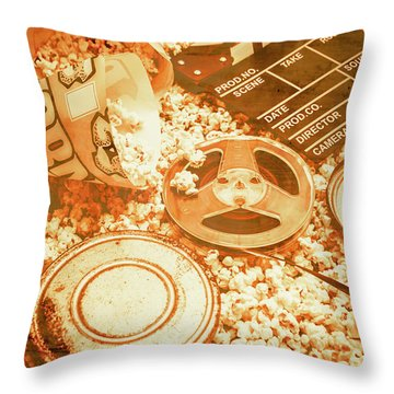Cutting A Scene Of Vintage Film Throw Pillow