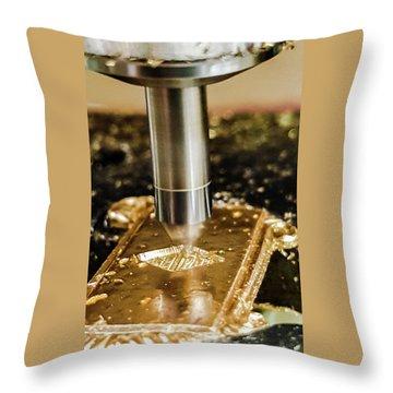Throw Pillow featuring the photograph Cutting Brass by Bruce Carpenter