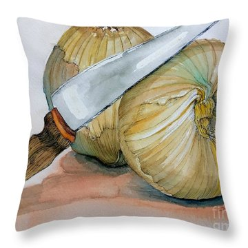 Cutting Onions Throw Pillow