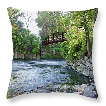 Cuyahoga River At Peninsula Throw Pillow