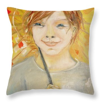Cuz I'm Happy Throw Pillow by Evelina Popilian