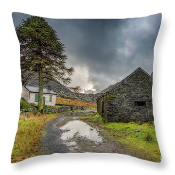 Throw Pillow featuring the photograph Cwmorthin Slate Ruins by Adrian Evans